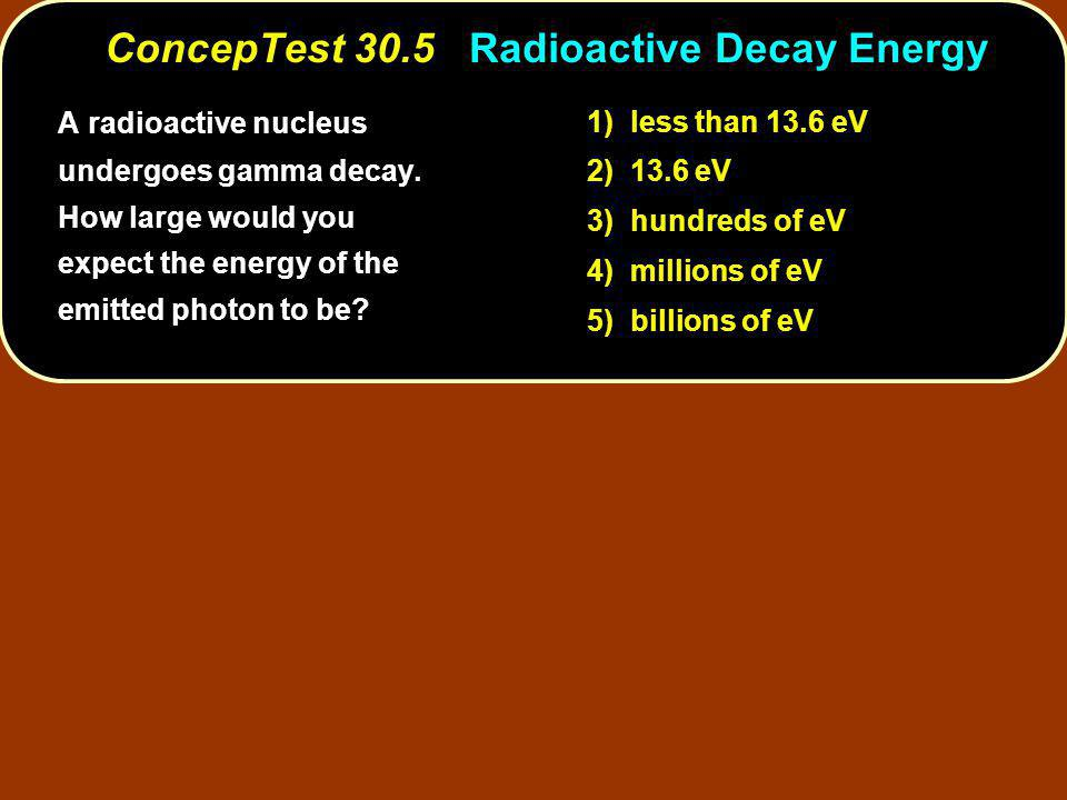 A radioactive nucleus undergoes gamma decay.