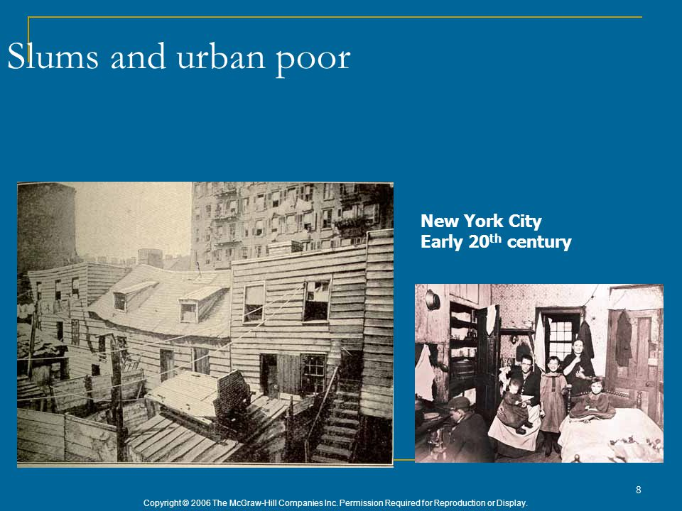 Copyright © 2006 The McGraw-Hill Companies Inc. Permission Required for Reproduction or Display. 8 Slums and urban poor New York City Early 20 th cent