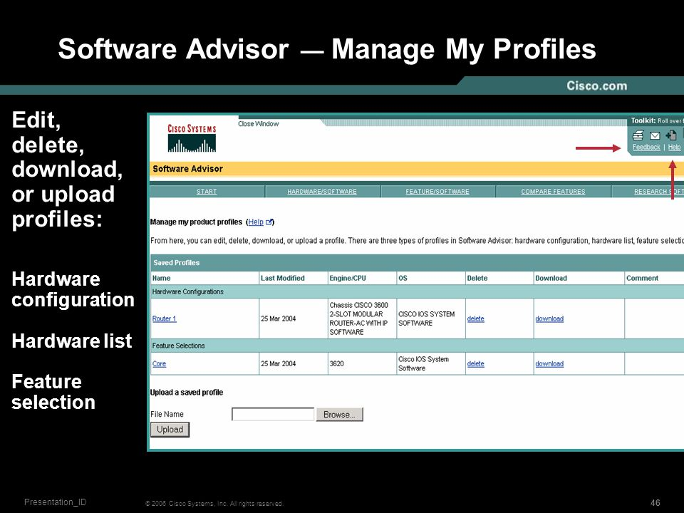45 © 2006 Cisco Systems, Inc. All rights reserved. Presentation_ID Software Advisor ― Compare Saved Profiles of Compatible Software Select two saved p