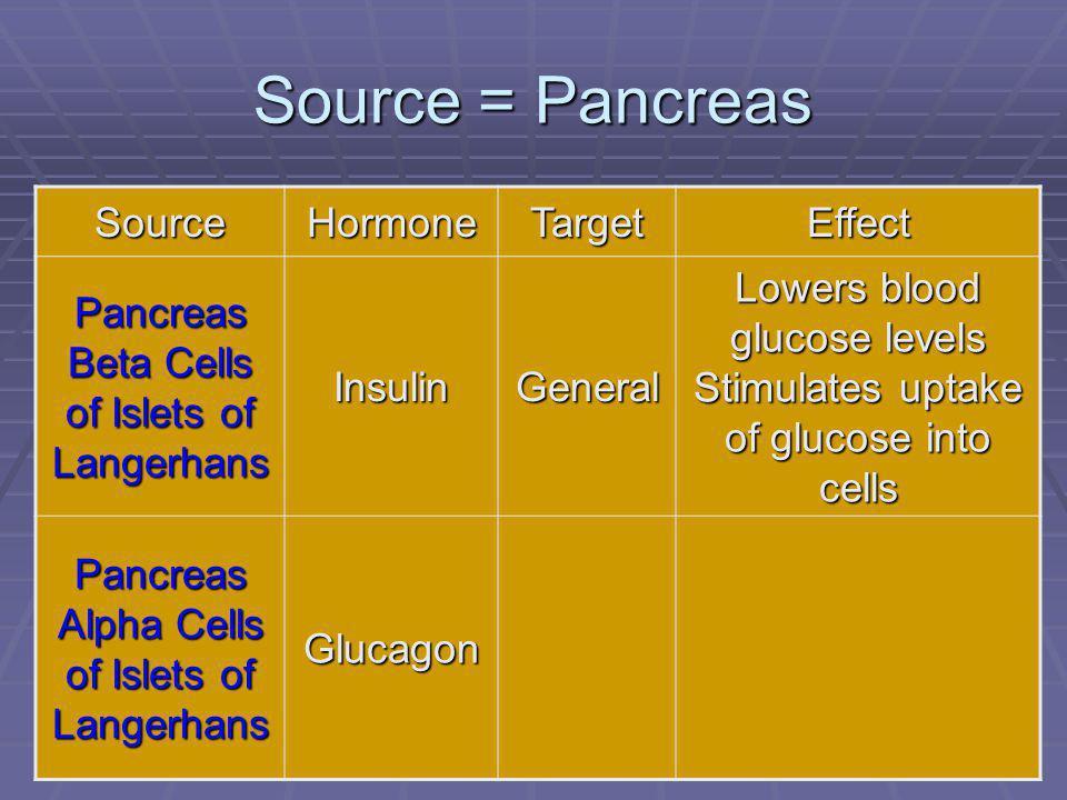 101 Source = Pancreas SourceHormoneTargetEffect Pancreas Beta Cells of Islets of Langerhans InsulinGeneral Lowers blood glucose levels Stimulates uptake of glucose into cells Pancreas Alpha Cells of Islets of Langerhans Glucagon