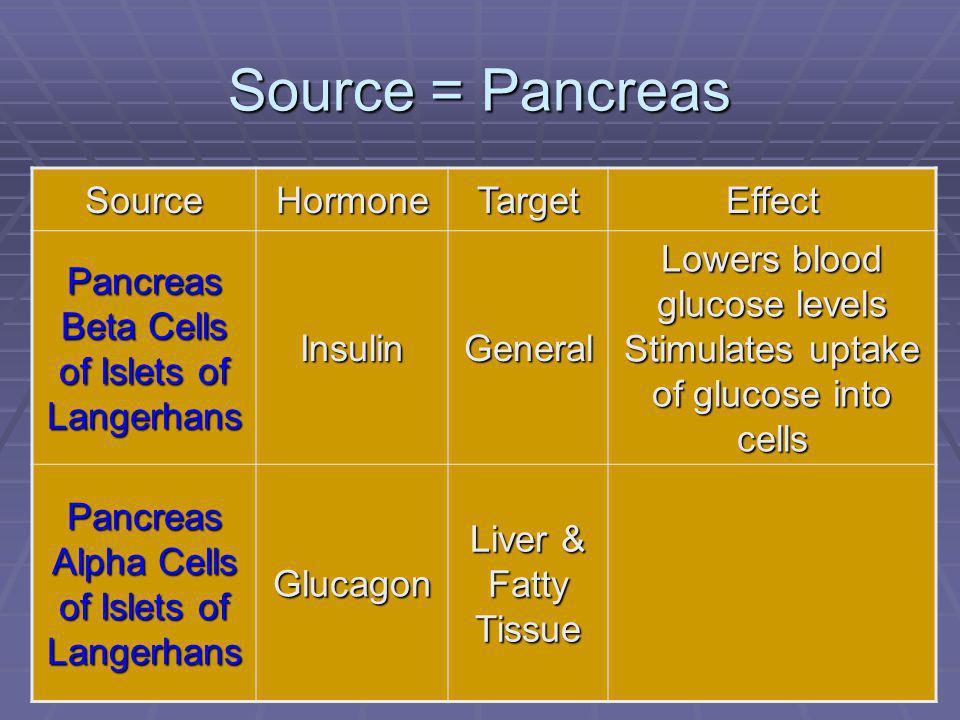 102 Source = Pancreas SourceHormoneTargetEffect Pancreas Beta Cells of Islets of Langerhans InsulinGeneral Lowers blood glucose levels Stimulates uptake of glucose into cells Pancreas Alpha Cells of Islets of Langerhans Glucagon Liver & Fatty Tissue