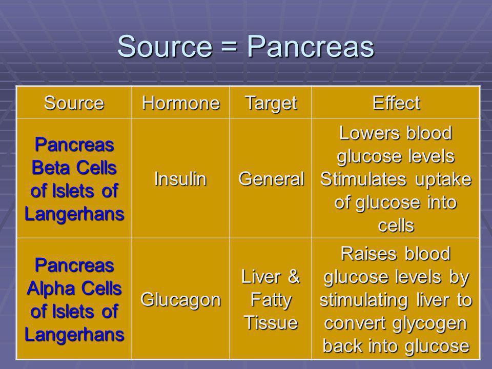 103 Source = Pancreas SourceHormoneTargetEffect Pancreas Beta Cells of Islets of Langerhans InsulinGeneral Lowers blood glucose levels Stimulates upta