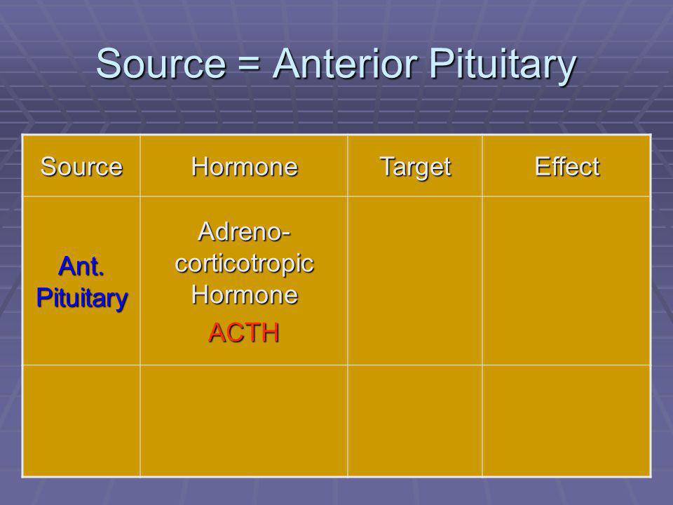 41 Source = Anterior Pituitary SourceHormoneTargetEffect Ant. Pituitary Adreno- corticotropic Hormone ACTH