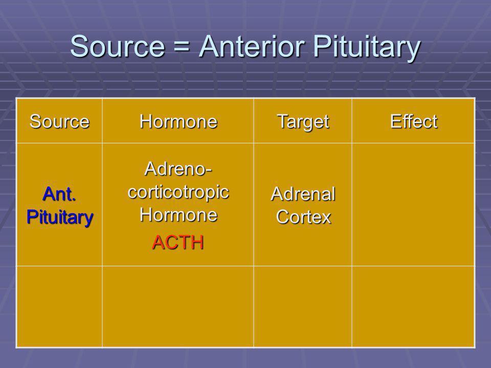 42 Source = Anterior Pituitary SourceHormoneTargetEffect Ant. Pituitary Adreno- corticotropic Hormone ACTH Adrenal Cortex