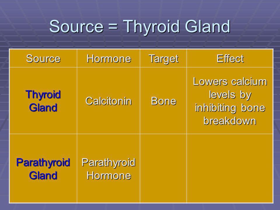 73 Source = Thyroid Gland SourceHormoneTargetEffect Thyroid Gland CalcitoninBone Lowers calcium levels by inhibiting bone breakdown Parathyroid Gland Parathyroid Hormone