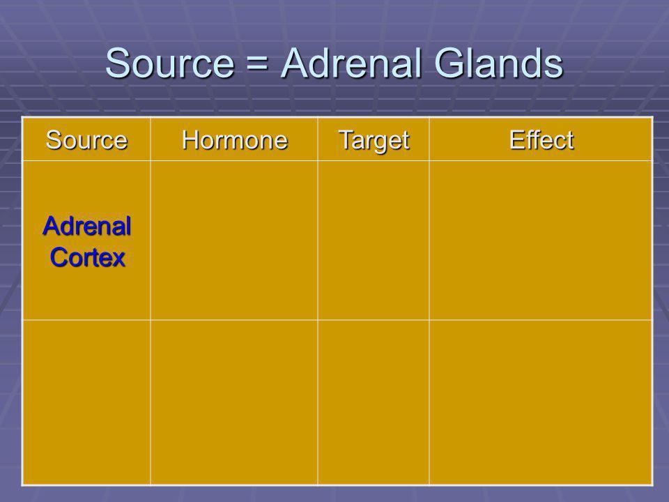 78 Source = Adrenal Glands SourceHormoneTargetEffect Adrenal Cortex