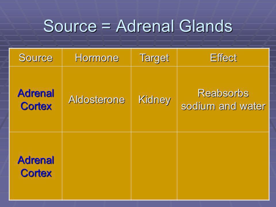 82 Source = Adrenal Glands SourceHormoneTargetEffect Adrenal Cortex AldosteroneKidney Reabsorbs sodium and water Adrenal Cortex