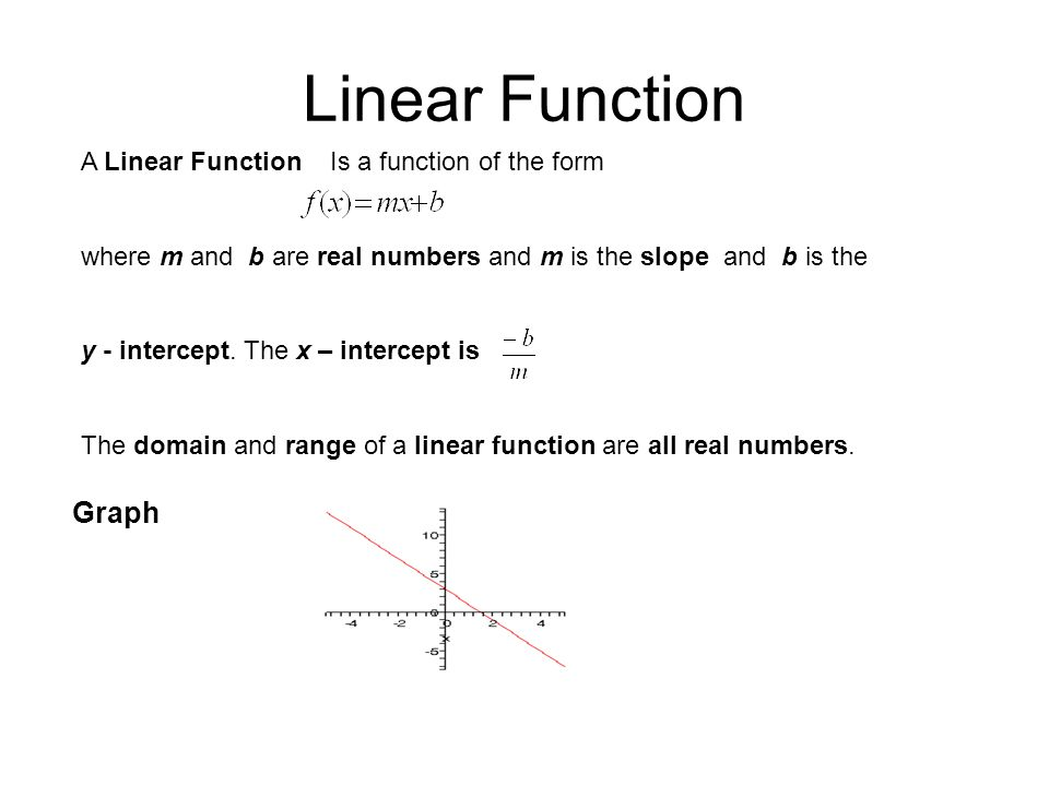 Linear Function A Linear Function Is a function of the form where m and b are real numbers and m is the slope and b is the y - intercept. The x – inte