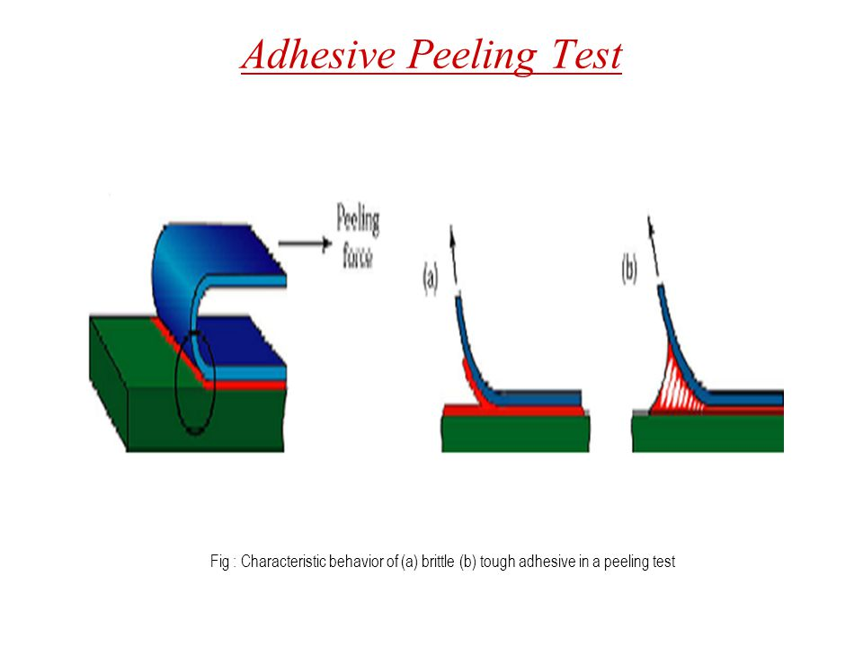Adhesive Peeling Test Fig : Characteristic behavior of (a) brittle (b) tough adhesive in a peeling test