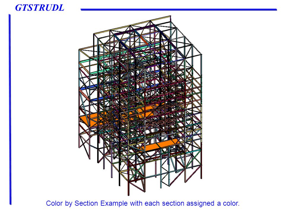 GTSTRUDL Color by Section Example with each section assigned a color.