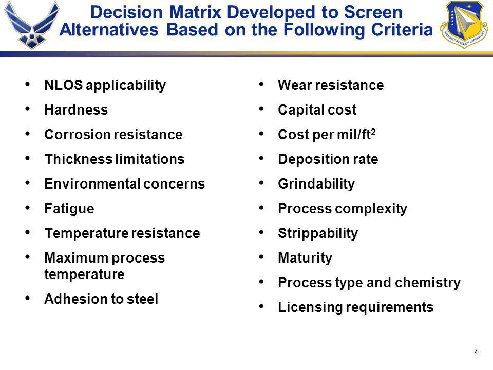 4 Decision Matrix Developed to Screen Alternatives Based on the Following Criteria NLOS applicability Hardness Corrosion resistance Thickness limitations Environmental concerns Fatigue Temperature resistance Maximum process temperature Adhesion to steel Wear resistance Capital cost Cost per mil/ft 2 Deposition rate Grindability Process complexity Strippability Maturity Process type and chemistry Licensing requirements