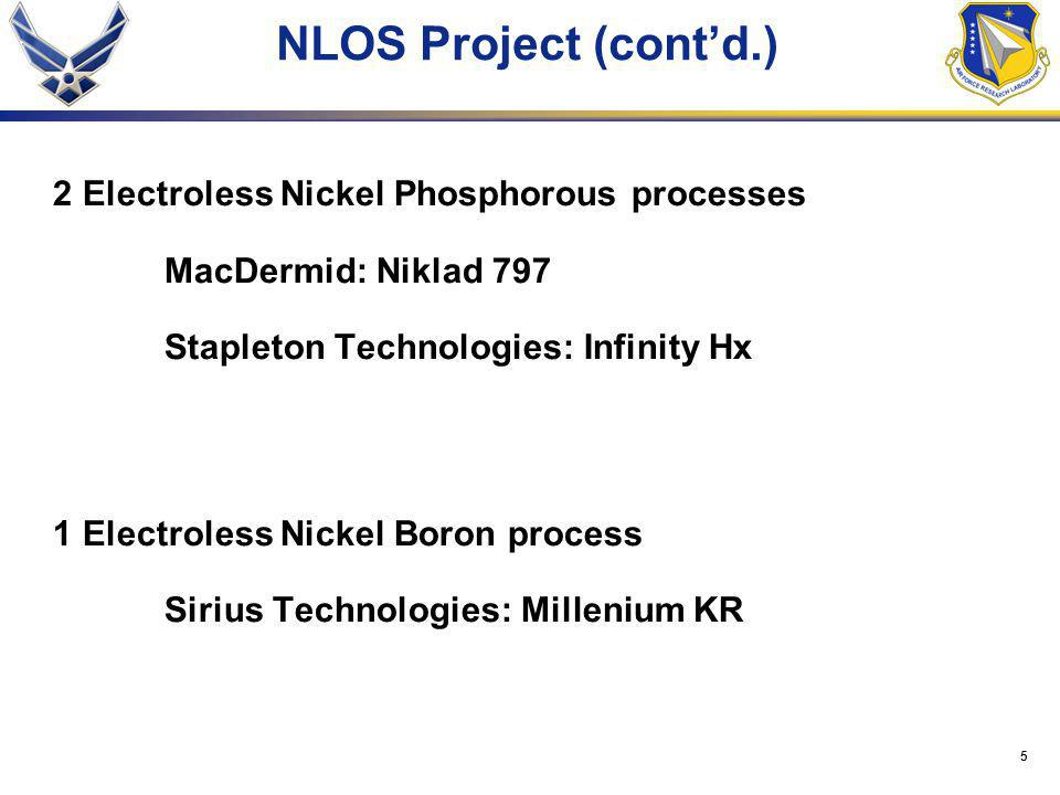 5 NLOS Project (cont'd.) 2 Electroless Nickel Phosphorous processes MacDermid: Niklad 797 Stapleton Technologies: Infinity Hx 1 Electroless Nickel Boron process Sirius Technologies: Millenium KR
