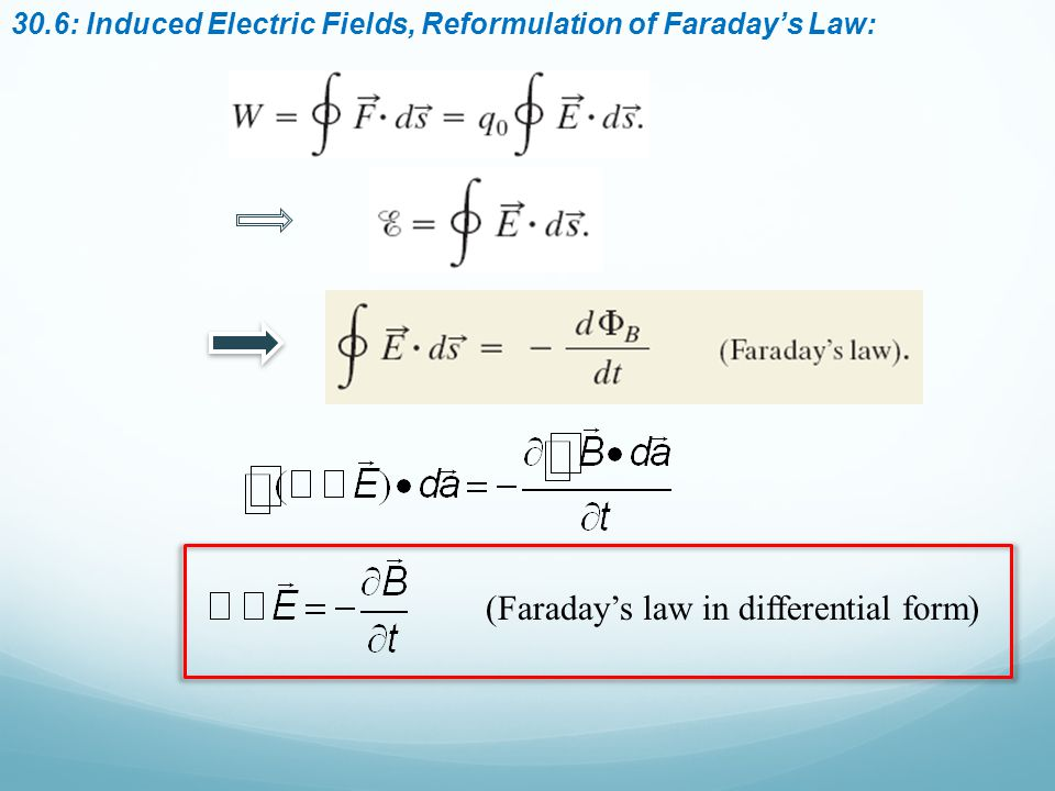 30.6: Induced Electric Fields, Reformulation of Faraday's Law: (Faraday's law in differential form)