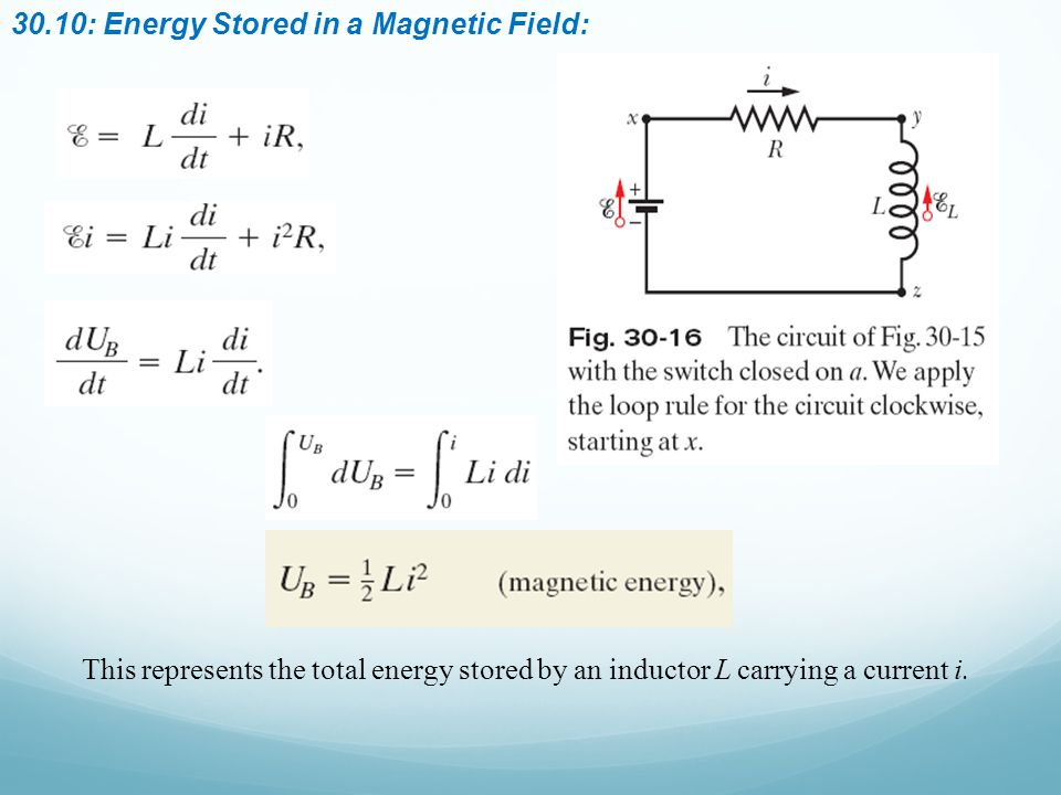 30.10: Energy Stored in a Magnetic Field: This represents the total energy stored by an inductor L carrying a current i.