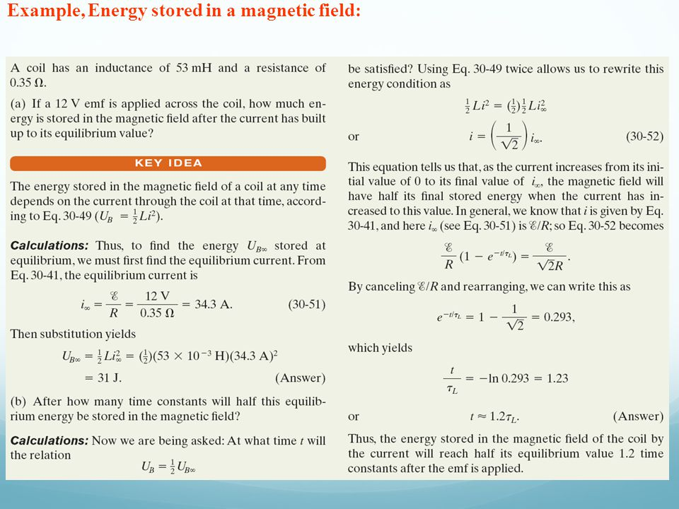Example, Energy stored in a magnetic field: