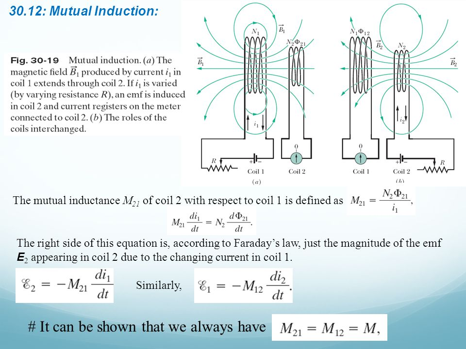30.12: Mutual Induction: The mutual inductance M 21 of coil 2 with respect to coil 1 is defined as The right side of this equation is, according to Fa