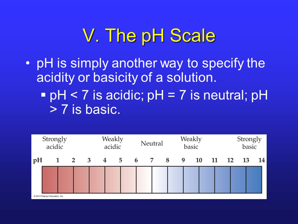V.The pH Scale pH is simply another way to specify the acidity or basicity of a solution.