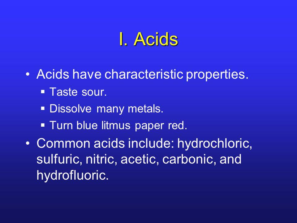 I.Acids Acids have characteristic properties.  Taste sour.