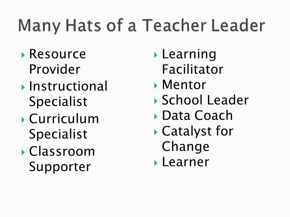  Resource Provider  Instructional Specialist  Curriculum Specialist  Classroom Supporter  Learning Facilitator  Mentor  School Leader  Data Coach  Catalyst for Change  Learner
