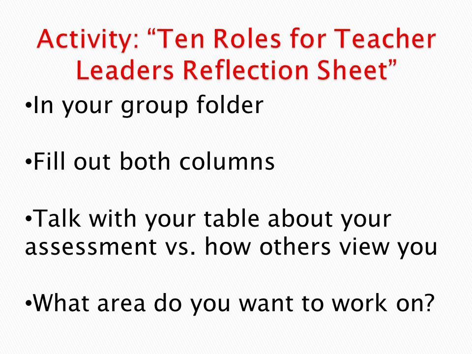 In your group folder Fill out both columns Talk with your table about your assessment vs.