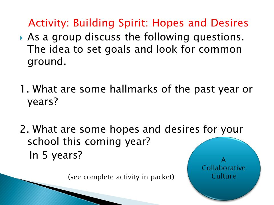 Activity: Building Spirit: Hopes and Desires  As a group discuss the following questions.