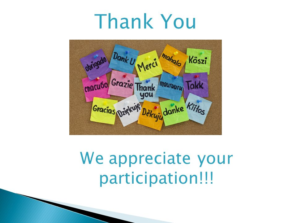 We appreciate your participation!!! Thank You