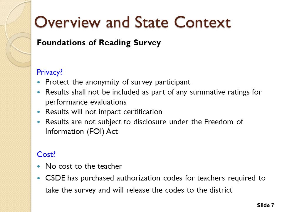 Slide 7 Overview and State Context Foundations of Reading Survey Privacy.