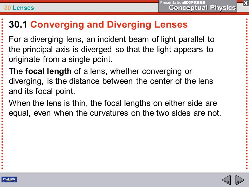 30 Lenses For a diverging lens, an incident beam of light parallel to the principal axis is diverged so that the light appears to originate from a sin