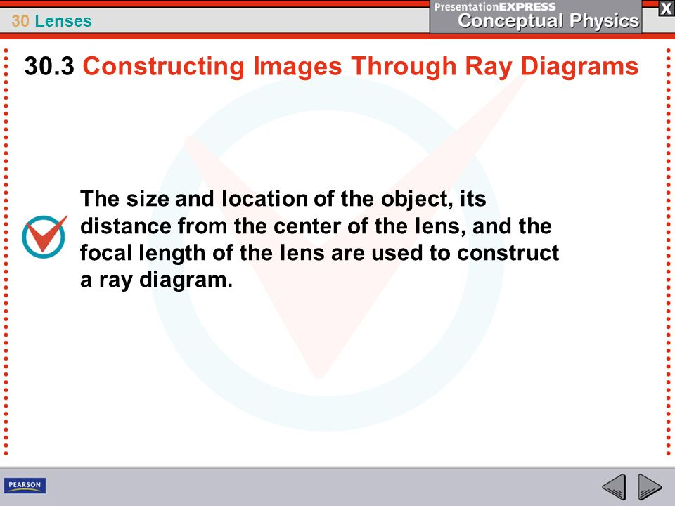 30 Lenses The size and location of the object, its distance from the center of the lens, and the focal length of the lens are used to construct a ray