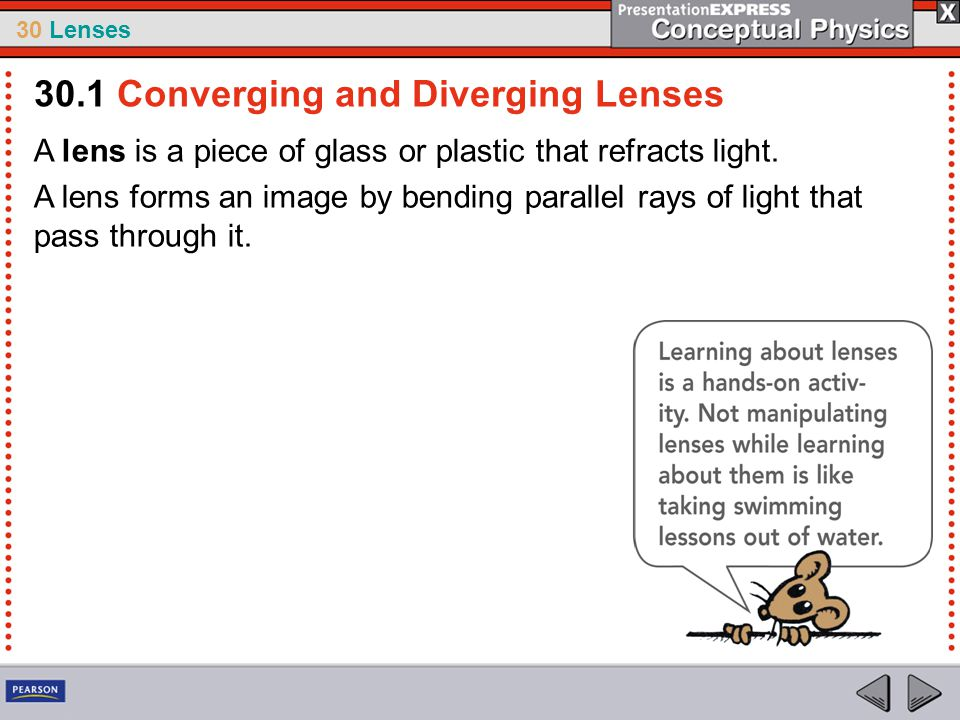 30 Lenses A lens is a piece of glass or plastic that refracts light. A lens forms an image by bending parallel rays of light that pass through it. 30.