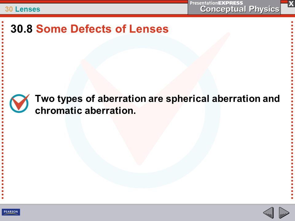 30 Lenses Two types of aberration are spherical aberration and chromatic aberration. 30.8 Some Defects of Lenses