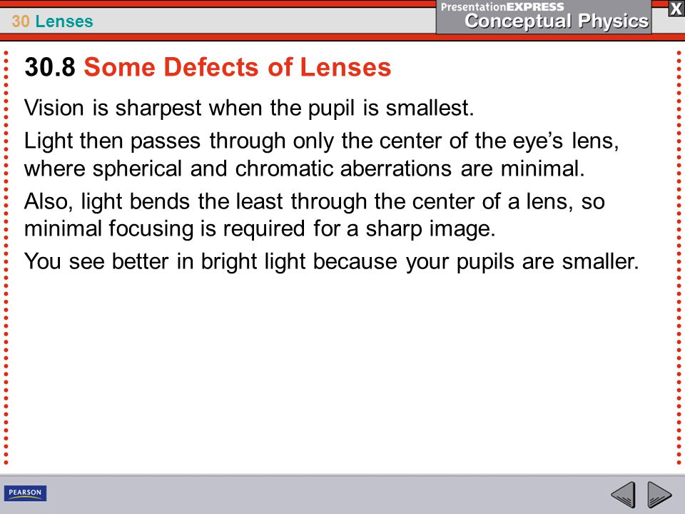 30 Lenses Vision is sharpest when the pupil is smallest. Light then passes through only the center of the eye's lens, where spherical and chromatic ab