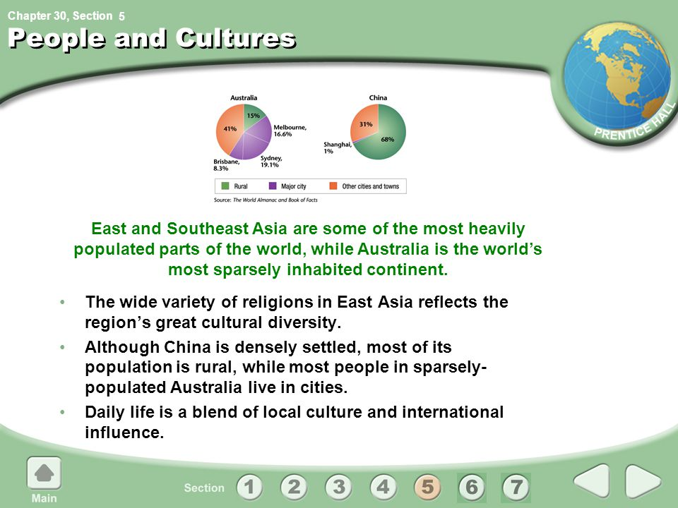 Chapter 30, Section East and Southeast Asia are some of the most heavily populated parts of the world, while Australia is the world's most sparsely in
