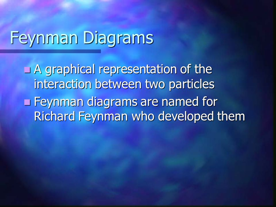 Feynman Diagrams A graphical representation of the interaction between two particles A graphical representation of the interaction between two particl