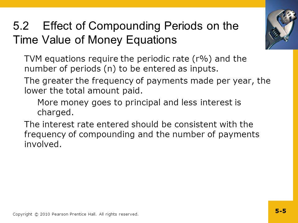 Copyright © 2010 Pearson Prentice Hall. All rights reserved. 5-5 5.2Effect of Compounding Periods on the Time Value of Money Equations TVM equations r