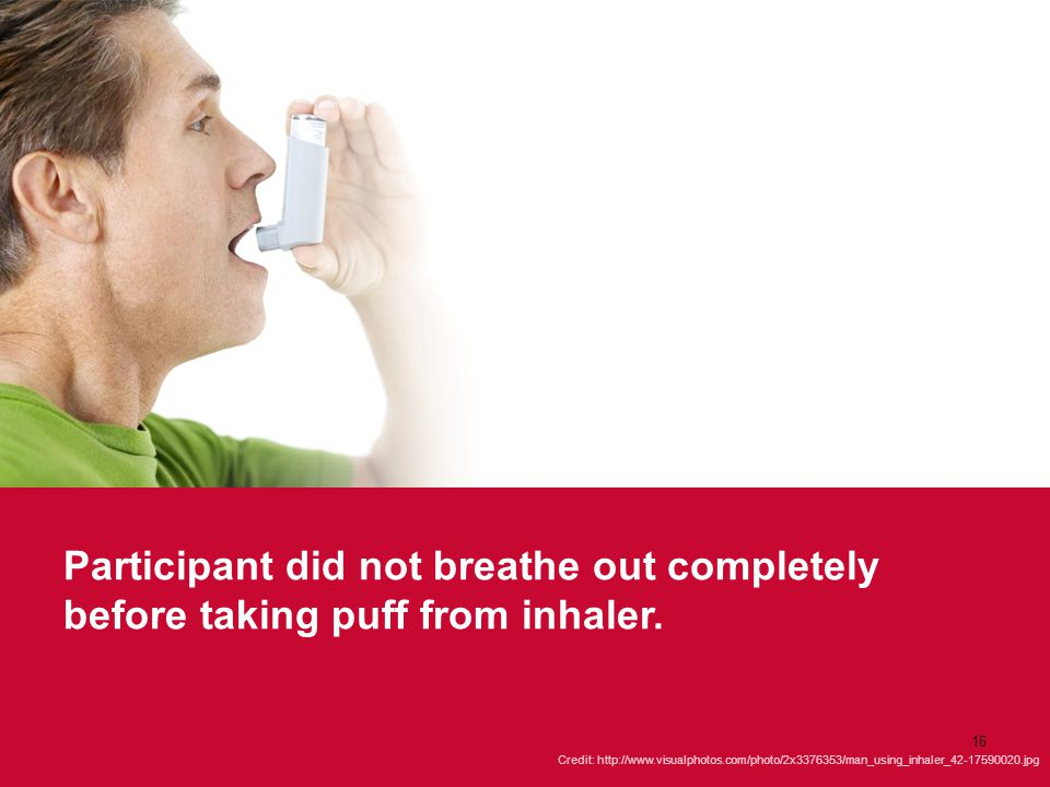 Participant did not breathe out completely before taking puff from inhaler. Credit: http://www.visualphotos.com/photo/2x3376353/man_using_inhaler_42-1