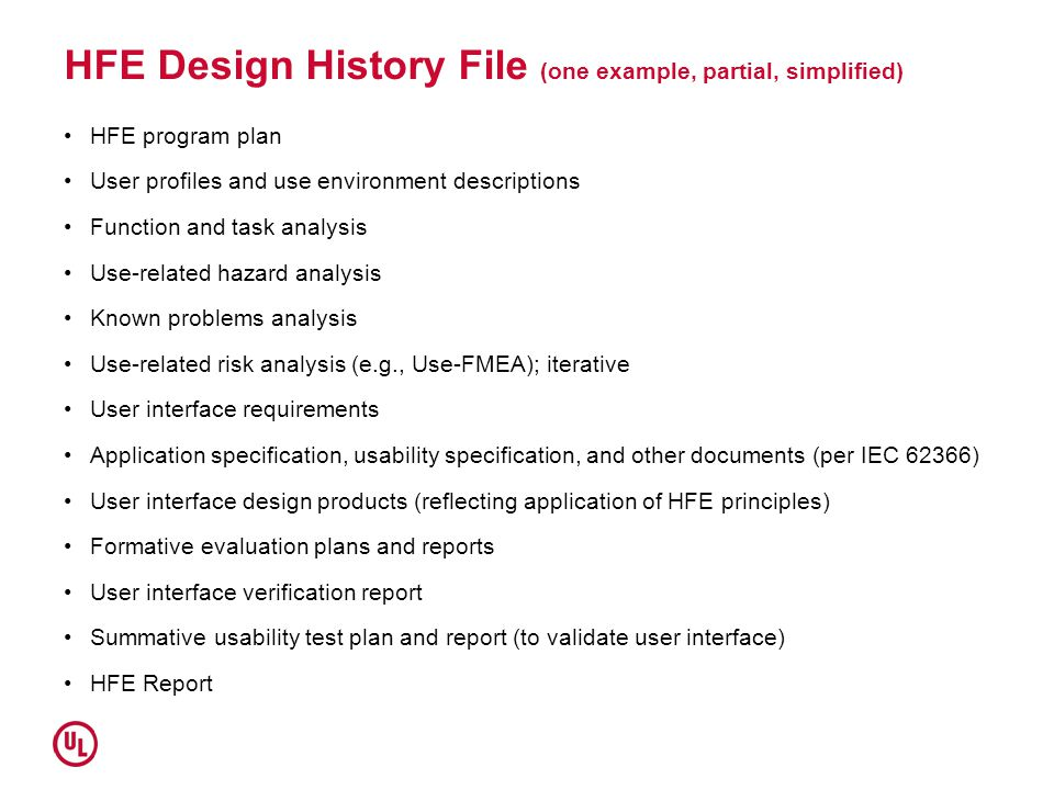 HFE Design History File (one example, partial, simplified) HFE program plan User profiles and use environment descriptions Function and task analysis