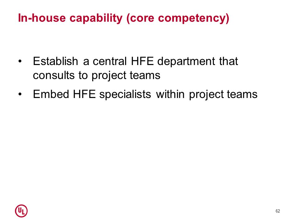 In-house capability (core competency) Establish a central HFE department that consults to project teams Embed HFE specialists within project teams 62
