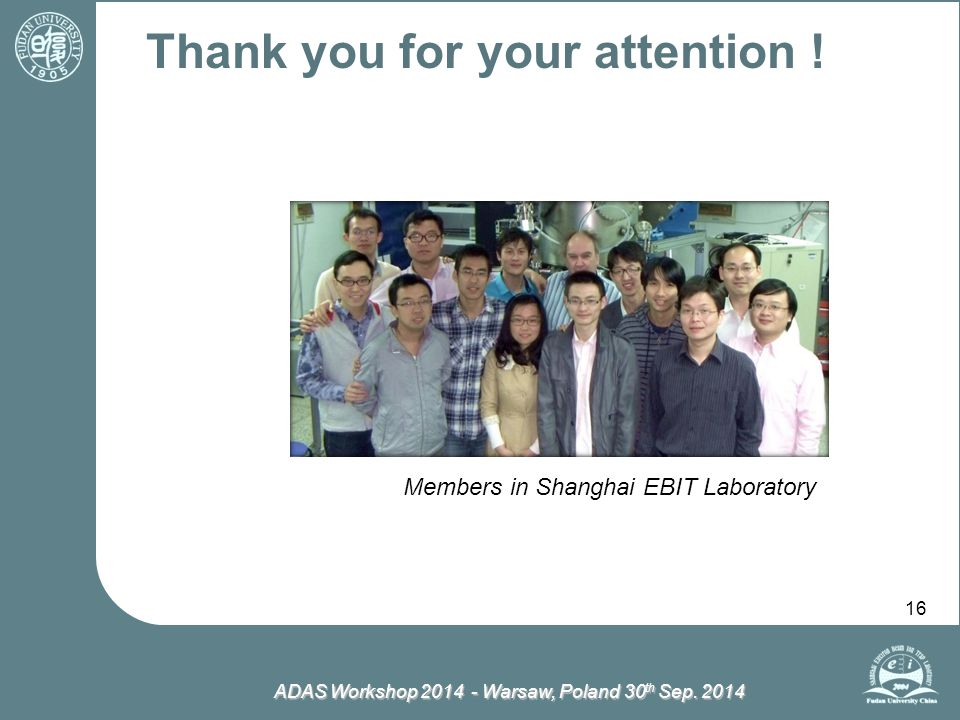 ADAS Workshop 2014 - Warsaw, Poland 30 th Sep. 2014 16 Thank you for your attention ! Members in Shanghai EBIT Laboratory