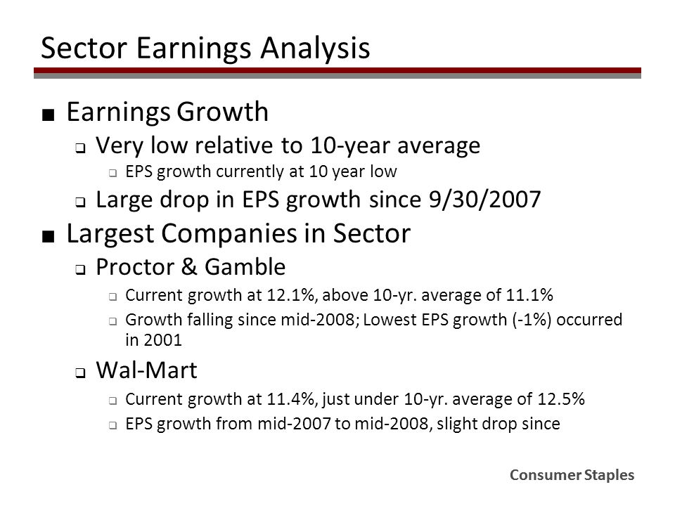 Consumer Staples Sector Earnings Analysis ■ Earnings Growth  Very low relative to 10-year average  EPS growth currently at 10 year low  Large drop