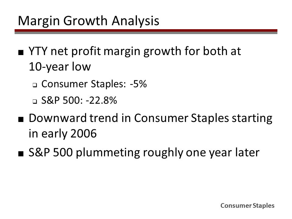 Consumer Staples Margin Growth Analysis ■ YTY net profit margin growth for both at 10-year low  Consumer Staples: -5%  S&P 500: -22.8% ■ Downward trend in Consumer Staples starting in early 2006 ■ S&P 500 plummeting roughly one year later