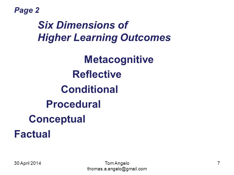 Page 2 Six Dimensions of Higher Learning Outcomes Metacognitive Reflective Conditional Procedural Conceptual Factual Tom Angelo thomas.a.angelo@gmail.com 30 April 20147