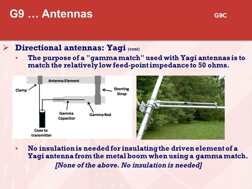 G9 … Antennas G9C  Directional antennas: Yagi (cont) The purpose of a