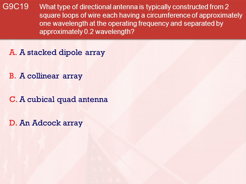 G9C19 What type of directional antenna is typically constructed from 2 square loops of wire each having a circumference of approximately one wavelengt