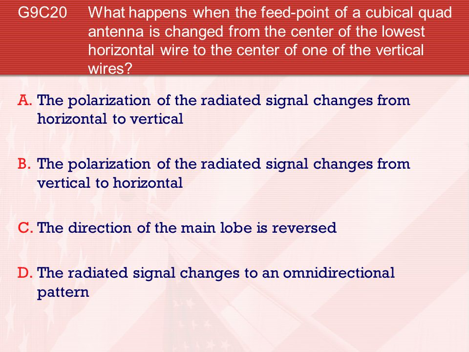 G9C20 What happens when the feed-point of a cubical quad antenna is changed from the center of the lowest horizontal wire to the center of one of the