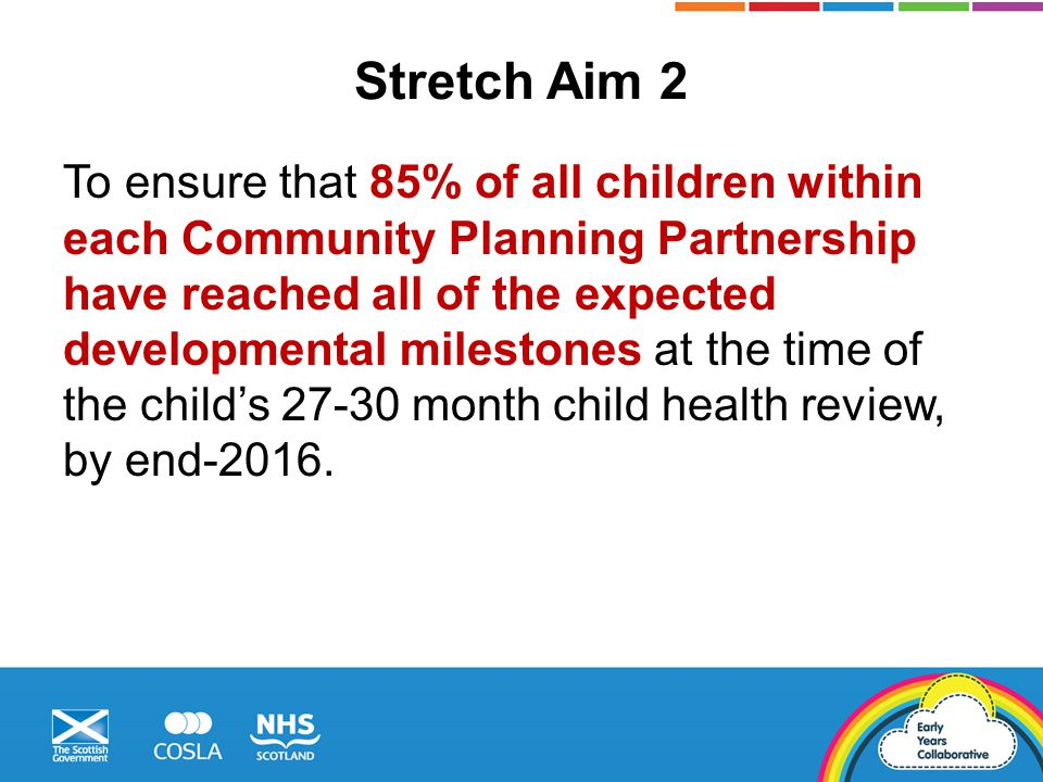 Stretch Aim 2 To ensure that 85% of all children within each Community Planning Partnership have reached all of the expected developmental milestones at the time of the child's 27-30 month child health review, by end-2016.