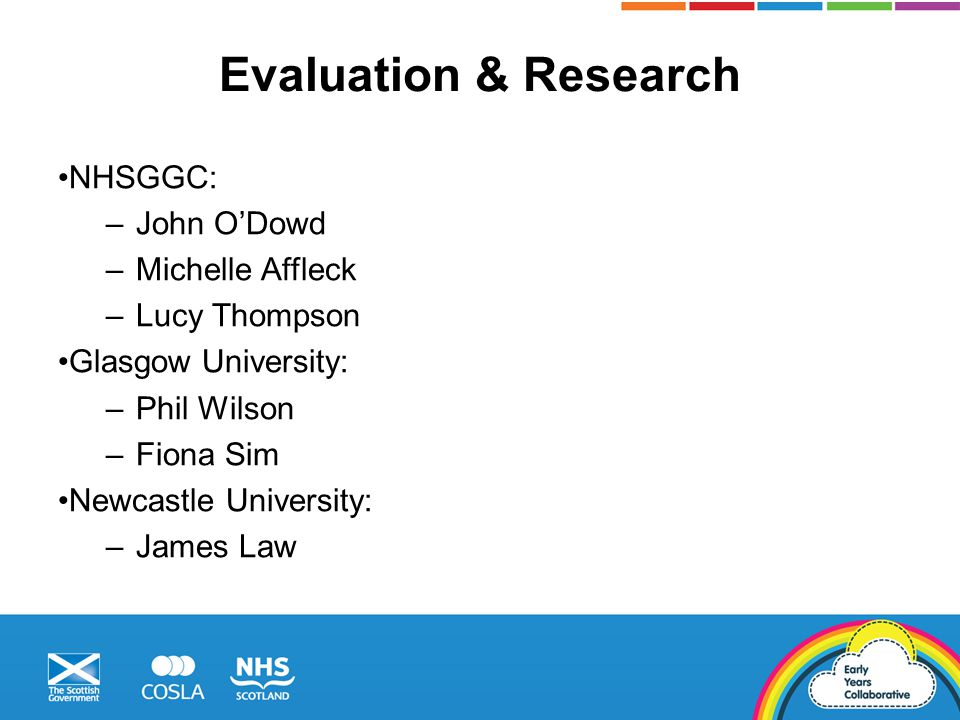 Evaluation & Research NHSGGC: –John O'Dowd –Michelle Affleck –Lucy Thompson Glasgow University: –Phil Wilson –Fiona Sim Newcastle University: –James L