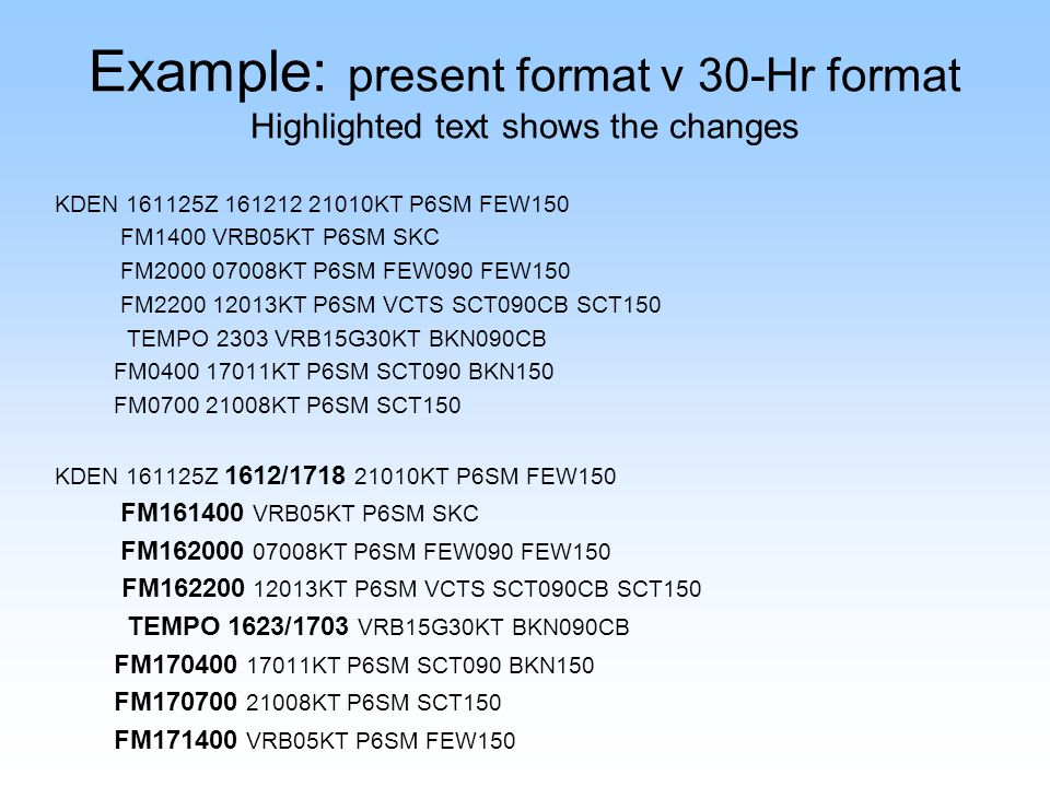 Example: present format v 30-Hr format Highlighted text shows the changes KCOU 241455Z 241512 15008KT 5SM -SHRA BKN050 OVC060 TEMPO 1516 VRB12G18KT 1S