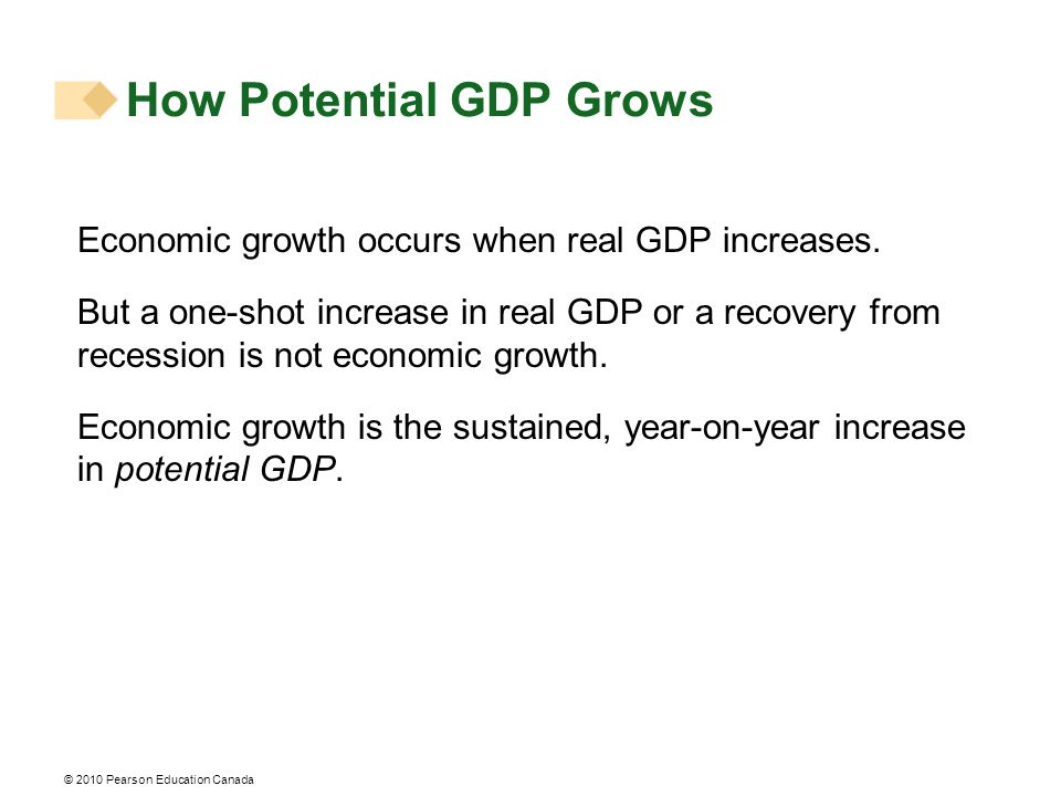 How Potential GDP Grows Economic growth occurs when real GDP increases.
