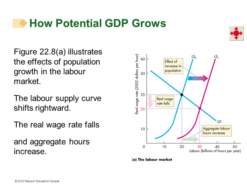 © 2010 Pearson Education Canada Figure 22.8(a) illustrates the effects of population growth in the labour market.